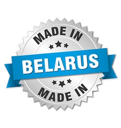 Made in Belarus silver badge with blue ribbon vector