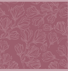 magnolia drawing seamless pattern vector image