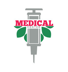 medical center promotional emblem with syringe and vector image