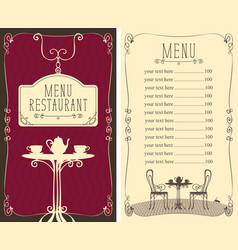 menu for cafe with price list and served table vector image