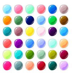 multicolored glass buttons on white background vector image vector image