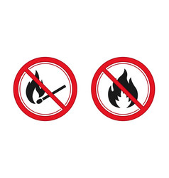 no fire and ignition sign red prohibitation signs vector image
