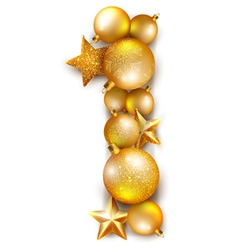 Number 1 made of shiny Christmas tree balls vector image