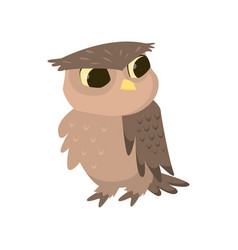 owl or eagle-owl bird isolated icon on white vector image