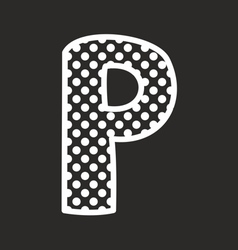 P alphabet letter with white polka dots on black vector