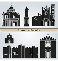 Prato landmarks and monuments vector