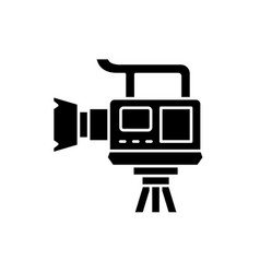 professional video camera black icon sign vector image