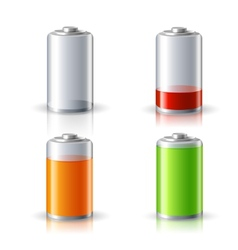 Realistic Battery Status Icons Set vector