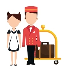 Room service and bellboy character hotel vector