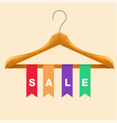 Sale clothes hanger colorful ribbon background vector