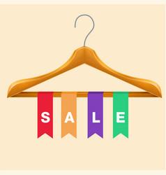 Sale clothes hanger sale colorful ribbon backgroun vector