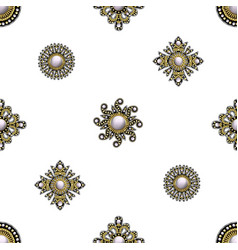 Seamless pattern from textile embroidered patch vector