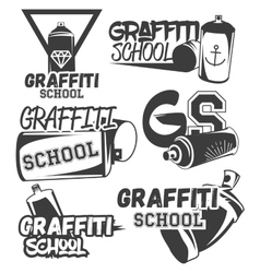 set graffiti school labels in vintage vector image