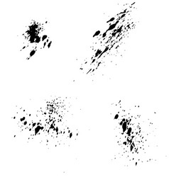 Set of black ink blots splash for grunge vector