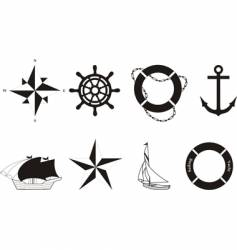 set of nautical symbols vector image