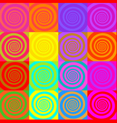 set psychedelic spirals in comic style vector image