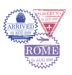 ship and airplane travel stamps of greece and rome vector image