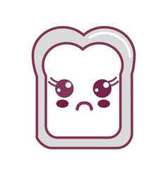 Silhouette kawaii cute surprised bread icon vector