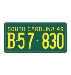 South Carolina 1945 license plate vector