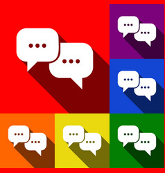 speech bubbles sign set of icons with vector image vector image