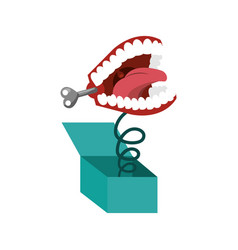 Surprise box with funny joke teeth icon vector