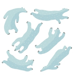 Swimming Polar Bears Collection vector image