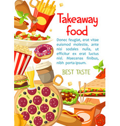 Takeaway fastfood meals poster vector