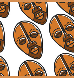 travel to south africa totem mask seamless pattern vector image