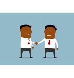 Two happy businessmen shaking hands vector