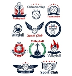 Volleyball game icons emblems and symbols vector