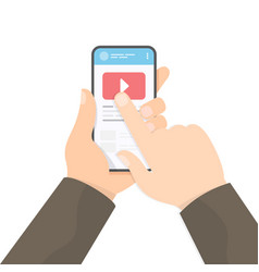 Watching video with smartphone vector