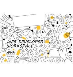 Web developer workspace doodle set vector