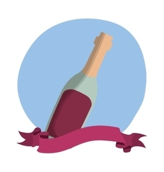wine bottle decorative icon vector image