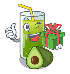 With gift avocado smoothies are isolated on vector