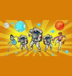 Women and astronauts running around the universe vector