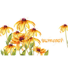 yellow flowers watercolor card summer vector image