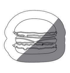 contour hamburger fast food icon vector image vector image