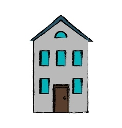 drawing real state house two floor vector image