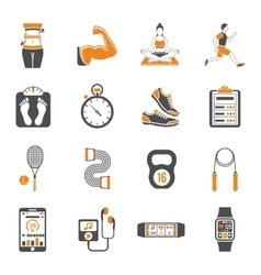 Fitness and Gym Icons Set vector image vector image