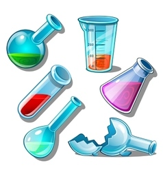 Large set of flasks with liquid and without it vector image vector image