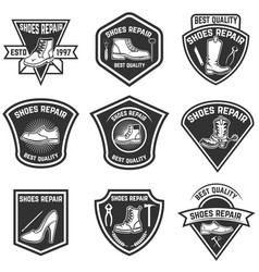 set of shoe repair emblems isolated on white vector image