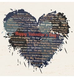 Valentines day text in the form of heart on a vector image