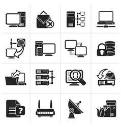 Black Computer Network and internet icons vector image