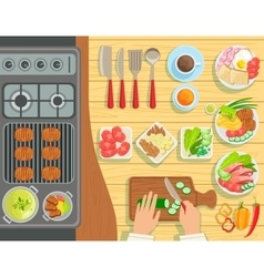Cafe Grill Cooking Process Elements Set View From vector image vector image