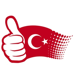 Flag of Turkey - hand showing thumbs up vector image