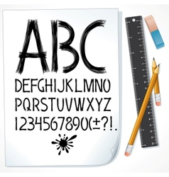 Hand Drawn Sketch Alphabet on Paper Image vector image vector image
