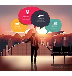 Infographic with silhouette people on airport back vector image vector image