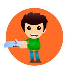 pizza delivery banner cheerful boy vector image