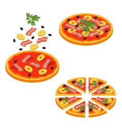 pizza sliced isometric icon set vector image vector image
