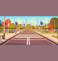 road empty city street with crosswalk and traffic vector image